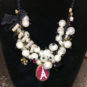 Betsy Johnson Paris Pearl Baubles Bib Necklace